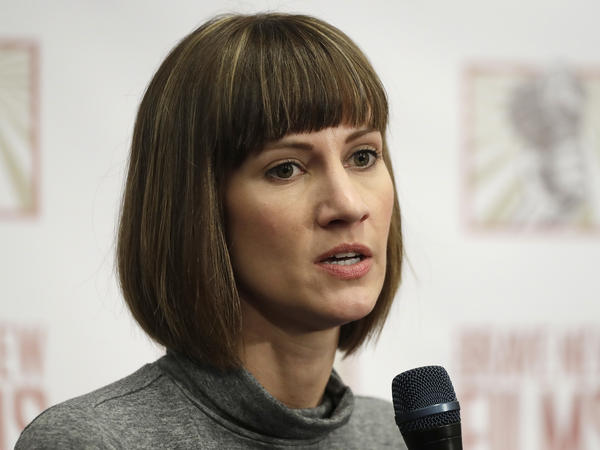 Rachel Crooks speaks at a news conference in December to discuss her accusations of unwanted kissing by Donald Trump. The president denied the allegations on Twitter after her story resurfaced on the front page of the <em>Washington Post. </em>