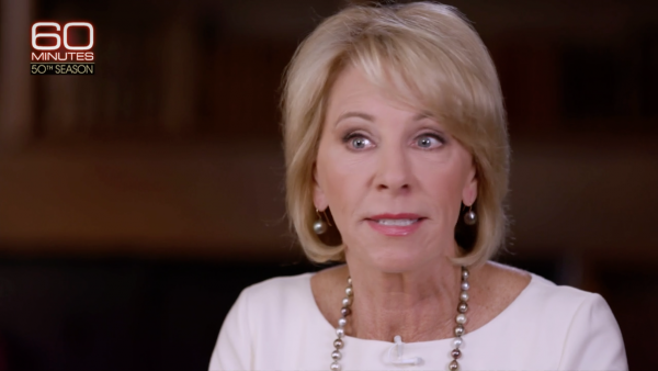 "Education Secretary Betsy DeVos stumbles during her interview with Lesley Stahl on <a href=""https://www.cbsnews.com/news/secretary-of-education-betsy-devos-on-guns-school-choice-and-why-people-dont-like-her/"">CBS's </a><a href=""https://www.cbsnews.com/news/secretary-of-education-betsy-devos-on-guns-school-choice-and-why-people-dont-like-her/"">60 Minutes</a>."