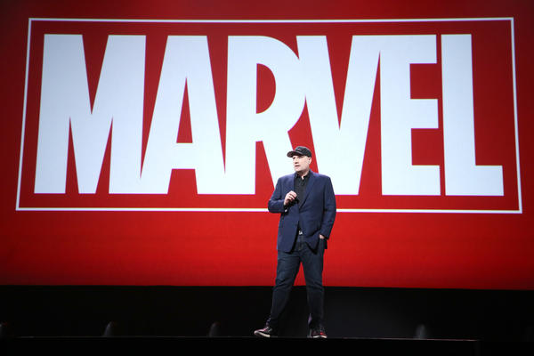 This year marks the 10th anniversary of Marvel Studios. Here, Marvel Studios President Kevin Feige presents at the 2015 D23 Expo in California.