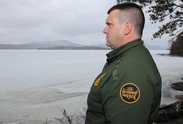 U.S. Border Patrol agent Richard Ross near the international border along Lake Memphremagog.