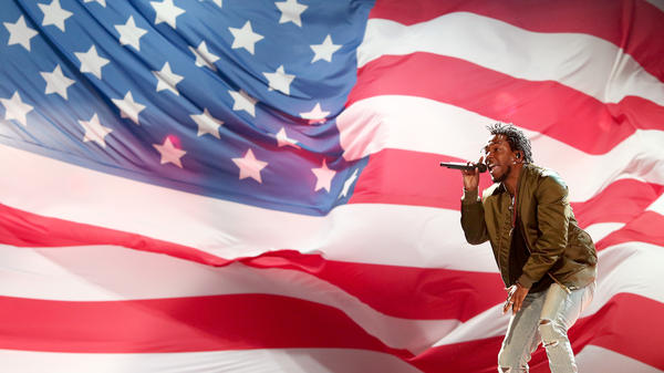 """Kendrick Lamar performs at the BET Awards in 2015, the year his song """"Alright"""" was released and exploded into an anthem of protest."""