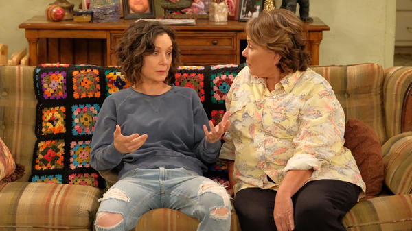Sara Gilbert and Roseanne Barr in the return of ABC's <em>Roseanne</em>. Gilbert — but not Barr — will re-return in the spinoff <em>The Conners</em>.