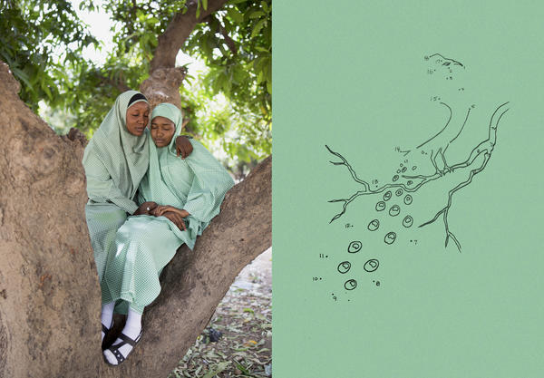 Rukkaya and Hadiza often hid their school uniforms in plastic bags because they feared becoming a target of Boko Haram (left). A connect-the-dots-style illustration from a coloring book (right) published by Heineman Educational Books.