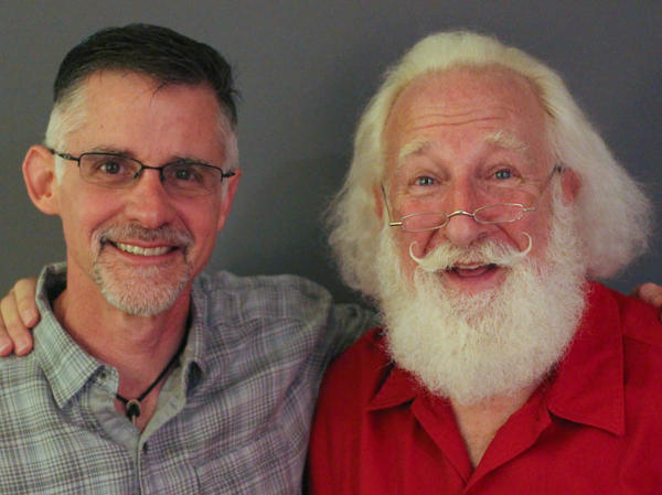 Adam Roseman, 52, and Rick Rosenthal, 66, pose after their StoryCorps interview in Atlanta.