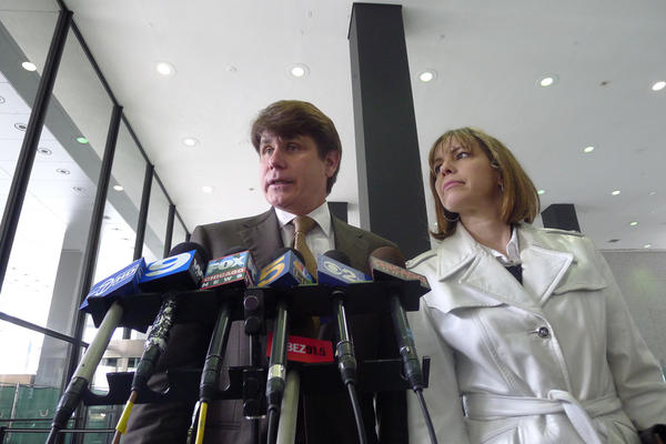 Rod Blagojevich and his wife Patti speak to reporters following his corruption conviction on May 5, 2011.