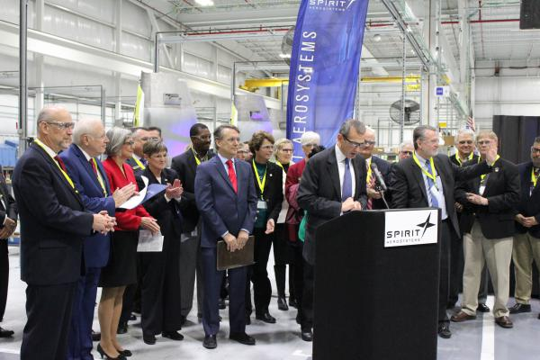 Kansas Gov.-elect Laura Kelly and Gov. Jeff Colyer were among elected officials who attended a news conference where Spirit AeroSystems president and CEO Tom Gentile made a major job announcement.