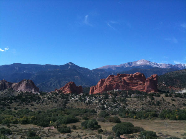 Pikes Peak and Garden of the Gods in Colorado Springs, Colorado. File photo.