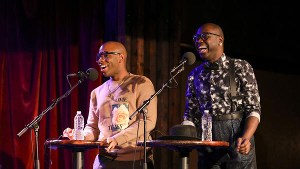Monét X Change and Bob the Drag Queen play a trivia game on <em>Ask Me Another</em> at the Bell House in Brooklyn, New York.
