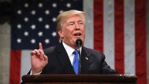 President Trump gives his first State of the Union address to Congress in January 2018.