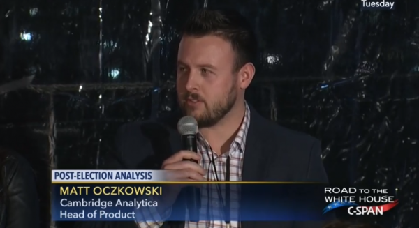 Former Cambridge Analytica Head of Product Matt Oczkowski speaks at a C-SPAN strategy debrief following the 2016 presidential election.