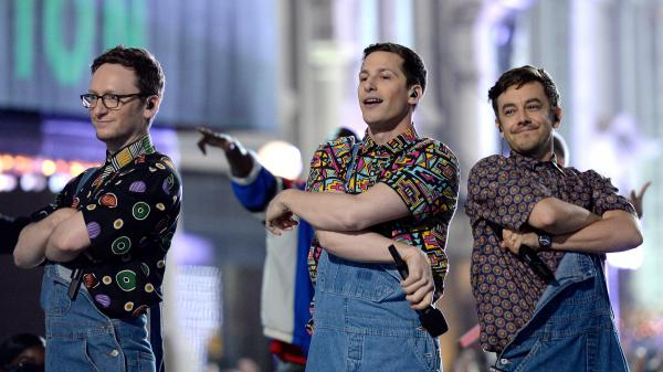 Actors Akiva Schaffer, Andy Samberg and Jorma Taccone of The Lonely Island perform onstage during the 2016 MTV Movie Awards at Warner Bros. Studios on April 9, 2016 in Burbank, California.