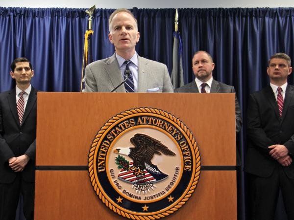 """U.S. Attorney William McSwain and colleagues announced a civil lawsuit Wednesday in Philadelphia against the nonprofit Safehouse. """"We have a responsibility to step in,"""" McSwain says, though he adds, """"We're not bringing a criminal case right now."""""""