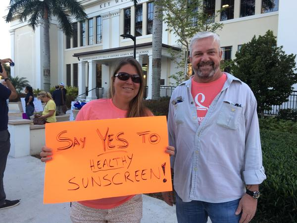 Chris Green, left, and Reef Relief Executive Director Mill McCleary were among those supporting Key West's ban on the sale of some sunscreens, approved Tuesday night.