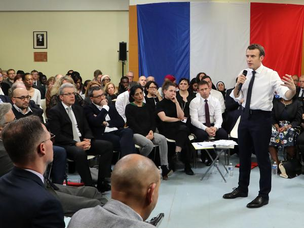 French president Emmanuel Macron takes part in a meeting in Évry-Courcouronnes on Feb. 4.