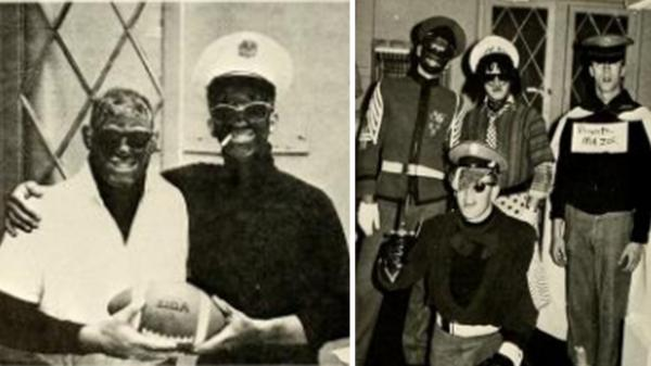 People dressed in blackface are seen in the 1968 edition of <em>The Bomb,</em> Virginia Military Institute's yearbook.