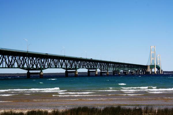 Enbridge's Line 5 twin oil pipelines run under the Straits of Mackinac.
