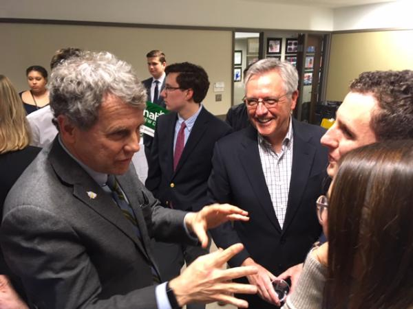 Sen. Sherrod Brown, D-Ohio, greets New Hampshire Democrats in Manchester on Feb. 9, 2019