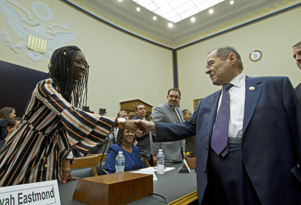 House Judiciary Committee Chairman Jerrold Nadler D-NY shakes hands with Aalayah Eastmond, a senior at Marjory Stoneman Douglas High School, during a House Judiciary Committee hearing on guns violence, at Capitol Hill in Washington on Feb. 6, 2019.