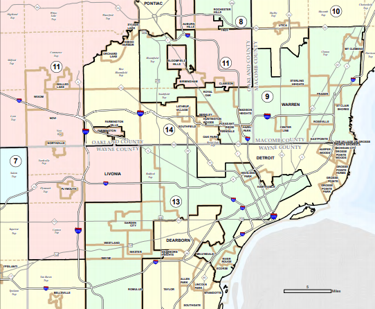A detail of Michigan's congressional district maps as drawn by a Republican-majority state legislature in 2011.
