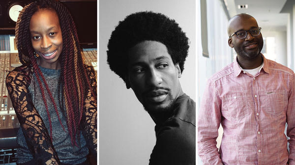 Left to right: Briana Younger, music editor and writer for <em>The New Yorker</em>; Jon Batiste, jazz artist and bandleader for <em>The Late Show</em>; Rodney Carmichael, staff hip-hop writer for NPR Music.