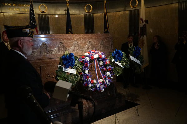 Wreaths placed in honor of Abraham Lincoln's 210th birthday, at the foot of the former president's grave in Springfield.