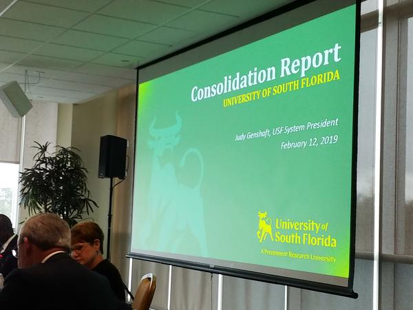 A USF Board of Trustees committee received a report Tuesday from a consolidation task force.