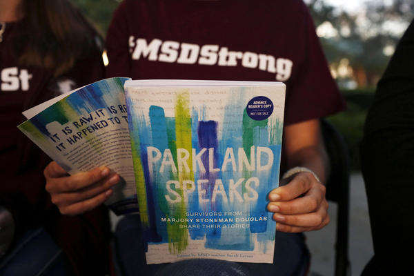 "Leni Steinhardt, 17, reads from a new book called ""Parkland Speaks: Survivors from Marjory Stoneman Douglas Share Their Stories."""