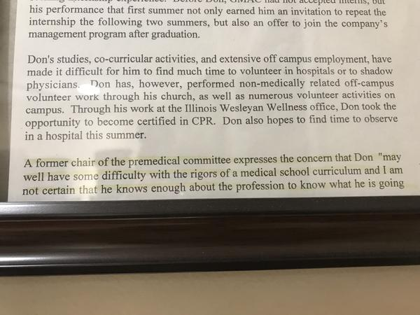 An excerpt from a negative letter of recommendation Dr. Arnold received.