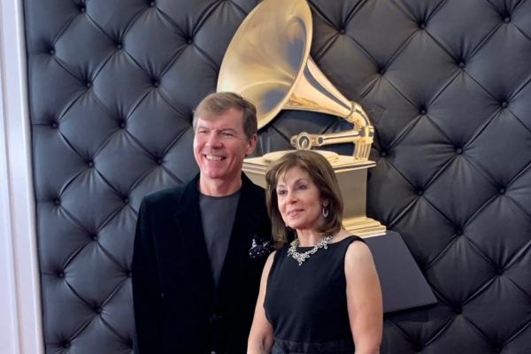 Composer Kenneth Fuchs, a UConn professor of music, left, and conductor Jo Ann Falletta, after winning a Grammy for Best Classical Compendium.