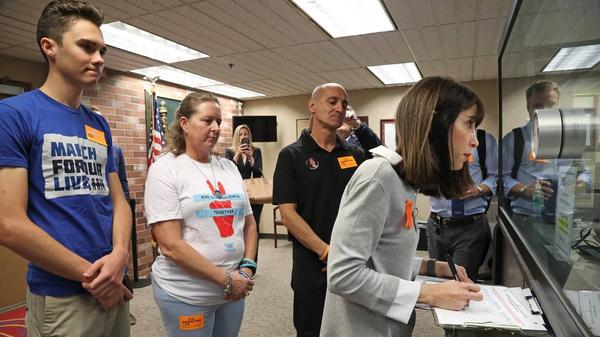Ban Assault Weapons Now Chairwoman Gail Schwartz, aunt of Parkland shooting victim Alex Schachter, submits petitions to the Broward County Supervisor of Elections office on Monday, Feb. 11, 2019.