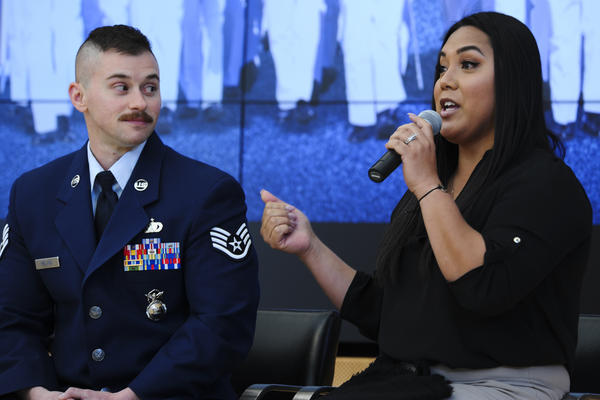 Staff Sgt. Logan Ireland and his wife, Laila, speak about transgender issues at the U.S. Air Force Academy in February 2018.