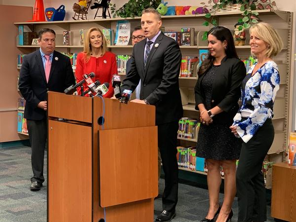 Hillsborough County Schools Superintendent Jeff Eakins talks to reporters about a plan to pay teachers up to $13,000 per year extra at 50 struggling schools.