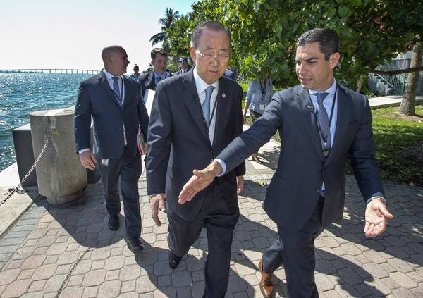 Former United Nations Secretary General Ban Ki-Moon and Miami Mayor Francis Suarez viewed on Tuesday Miami's flood prevention projects.
