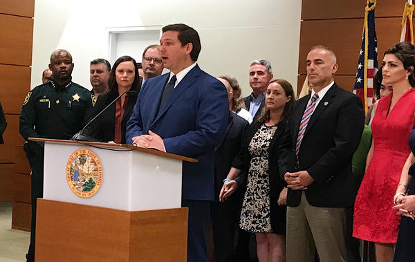 Gov. Ron DeSantis met with the families of the victims of the Stoneman Douglas shooting at the Broward County Courthouse in Fort Lauderdale.