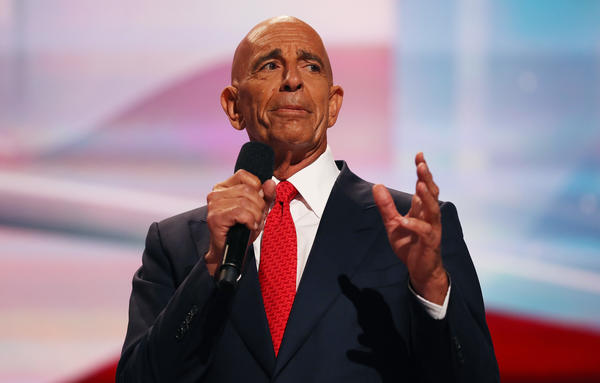 Tom Barrack, longtime friend of President Trump, delivers a speech at the Republican National Convention on July 21, 2016, in Cleveland, Ohio.