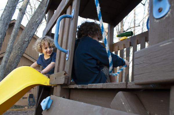 Matteo, left, and his older brother Caleb play in their backyard in Chapel Hill, North Carolina. Kindergartener Caleb practices lockdown drills at his school and so does his little brother Matteo, who is in preschool.
