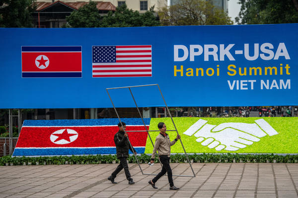 Workers in Hanoi, Vietnam, making last-minute preparations ahead of this week's summit between President Trump and North Korean leader Kim Jong Un.