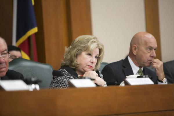 State Sen. Jane Nelson, R-Flower Mound, listens during a Senate Finance Committee hearing at the state Capitol in 2017.