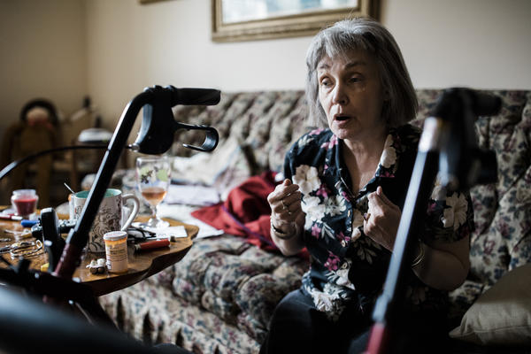 Reva McClellan lives alone in a senior housing complext in Elkins. She has one daughter, with whom she has a strained relationship. Besides her home health worker, she's pretty isolated since she can no longer drive due to progressive multiple sclerosis.