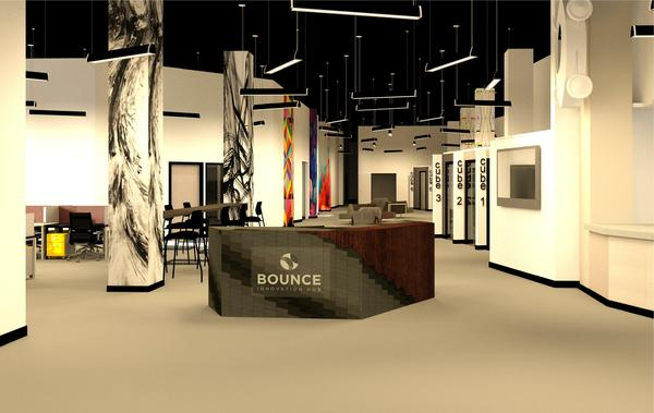 This rendering shows the reception desk at the Generator at Bounce. The desk will be made locally by artist Dominic Falcione.