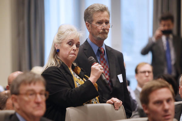 Attorney Cynthia Singletary tells the public evidentiary hearing that her client, Leslie McCrae Dowless, will not testify without immunity about the 9th Congressional District election investigation, at the North Carolina State Bar in Raleigh on Monday.