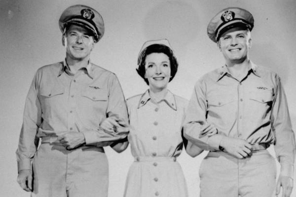 Ronald Reagan (from left), Nancy Davis Reagan and Arthur Franz co-star in the 1957 movie <em>Hellcats of the Navy</em>. It was the only film Nancy and Ronald Reagan appeared in together.