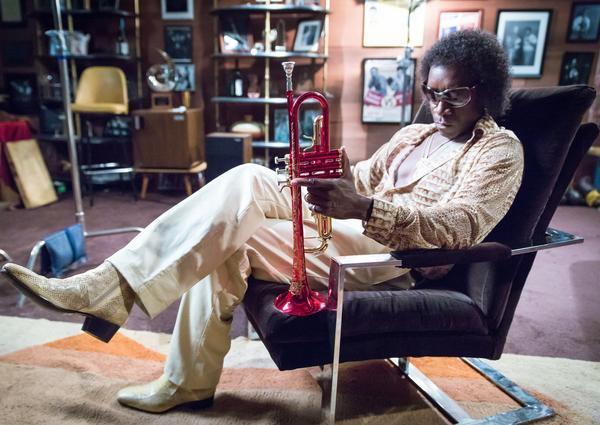 Don Cheadle as Miles Davis in <em>Miles Ahead</em>.