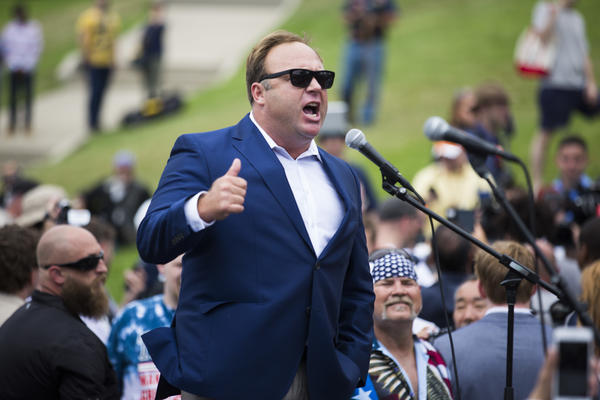 Radio talk show host Alex Jones speaks during a rally in support of Donald Trump near the Republican National Convention in Cleveland on July 18.
