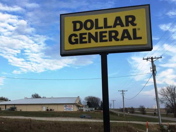 The Dollar General in Moville, Iowa, is a stone's throw from the only grocery store in town. Though the grocery has produce and fresh meats, it can't compete with Dollar General on other items.