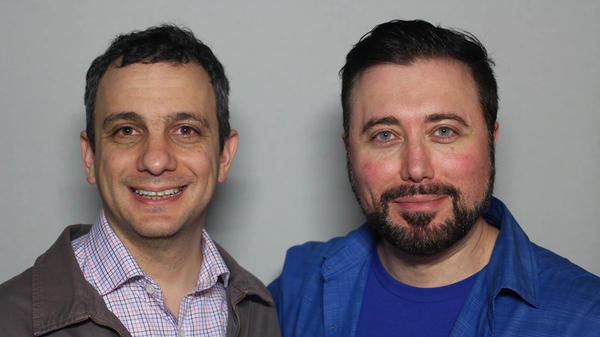 At a StoryCorps interview in New York City, Allan Fuks (right) tells his former middle school classmate Spencer Katzman what it was like to go through school with an awkward name.