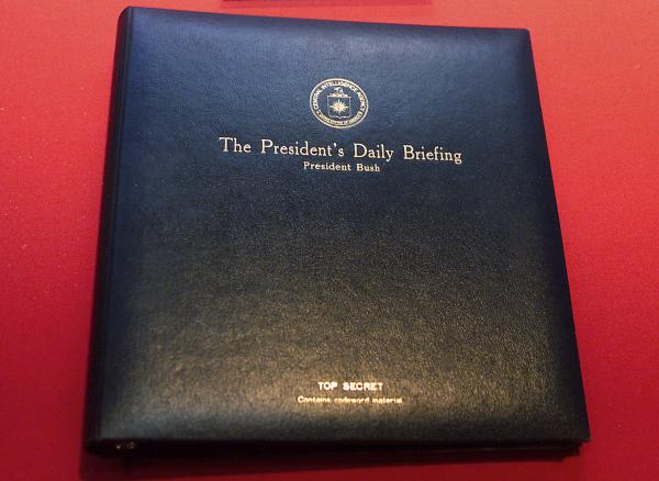 The President's Daily Briefing is the top-secret intelligence report the CIA presents to the president every weekday. The book shown here is for a briefing delivered to President George W. Bush in 2002.
