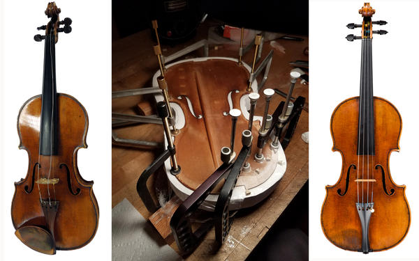 From left to right, the Totenberg-Ames Stradivarius at the start of its restoration; in a mold being prepared to have the edge reinforced; and after the restoration.