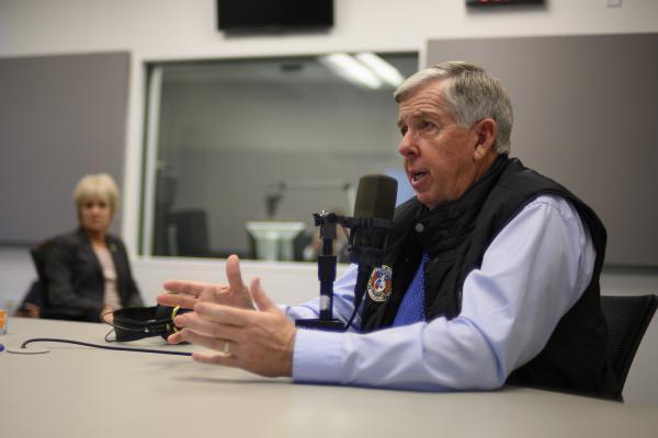 Gov. Mike Parson speaks to St. Louis Public Radio's Jason Rosenbaum during an interview  Thursday.