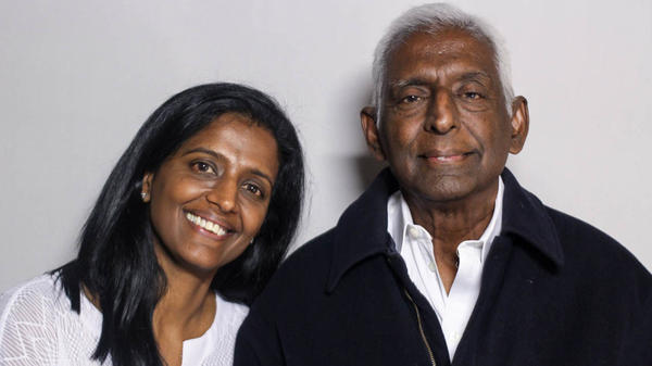 Paru Venkat and Alagappa Rammohan pose for a portrait after their StoryCorps interview in Chicago on June 23, 2018.